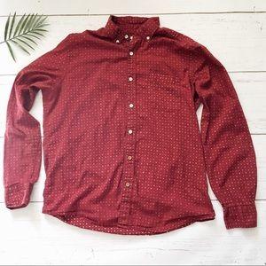 Vissla long sleeve red pattern button down